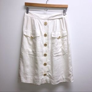tory Burch white linen skirt 4 button down